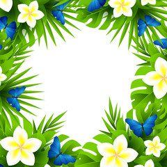 Tropical invitation background with exotic white flowers and blue butterflies