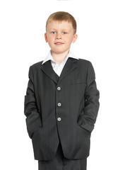 little boy in a suit