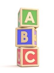 Letter blocks A, B and C vertical arranged. 3D