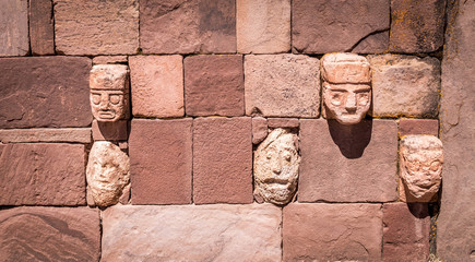 Detail of head sculptures at  Tiwanaku (Tiahuanaco), Pre-Columbian archaeological site - La Paz, Bolivia