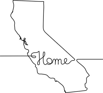 continuous line drawing of California home sign