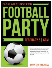 Football Soccer Party Flyer Invitation Illustration