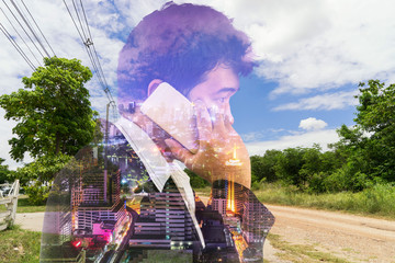 abstract double exposure business man talk a phone