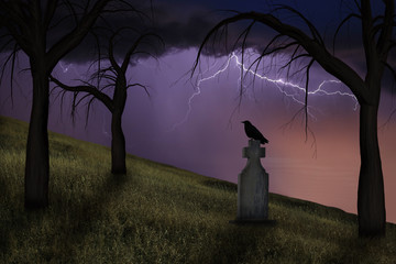 Spooky crow on a headstone in the graveyard under stormy skies.