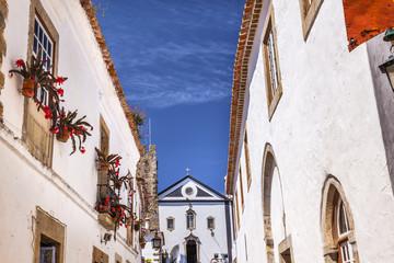 Sao Pedro Church Narrow White Street Obidos Portugal