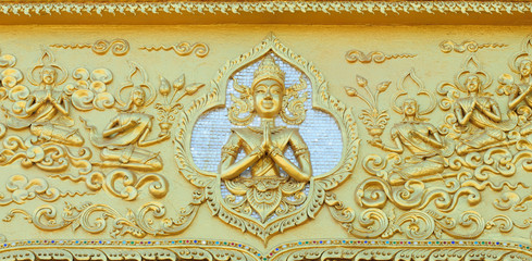 Thailand-November 5, 2015:Close up of decorated wall in front of, Thailand temple