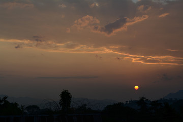 Sunset with clouds and mountain in the evening of Itanagar, Arunachal Pradesh.
