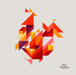 Minimalistic Vector abstract illustration. Red Rooster of geometric shapes. Chinese New Year 2017. To design a calendar, postcards, flyers and other Christmas products. EPS 10
