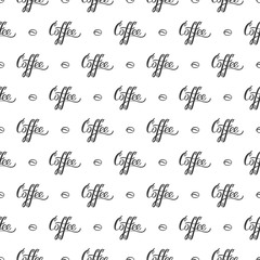 "Vector seamless pattern with handrawn lettering ""Coffee"" and coffee beans. Repeating background for wrapping paper, scrapbooking, textile design."