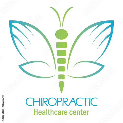 """Chiropractic clinic logo with butterfly, symbol of hand ..."