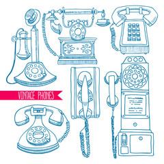 set of sketch vintage phones