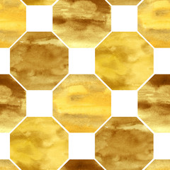 Hand-drawn watercolor seamless pattern in Moroccan style. Golden tiles in the repeated print for the textile and wallpapers. Geometrical background