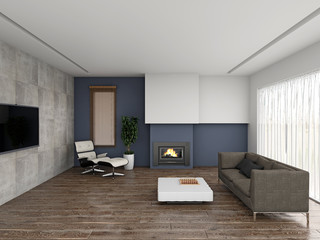 Living room 3D rendering