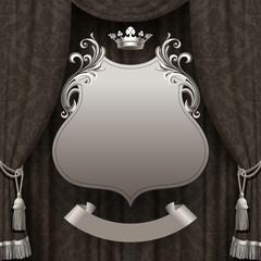 Suspended decorative vintage frame on the dark curtain