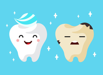 Healthy and unhealthy sad tooth cartoon characters