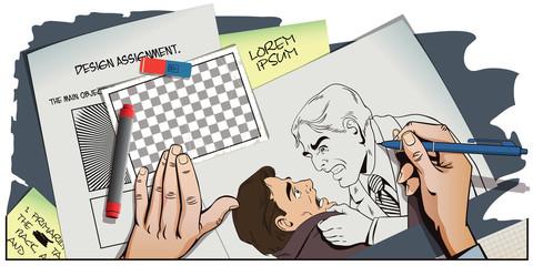 Conflict men. Fight businessman.