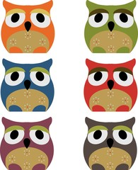 Vector set of a colorful owls on a white background
