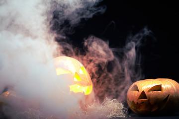 Halloween pumpkin burning and smoking