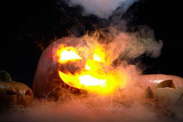 Flaming Jack Lantern in the dark