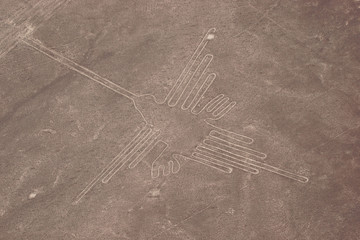 Nazca Lines seen from helicopter, Peru