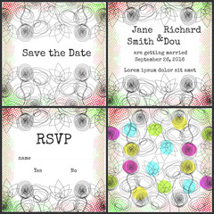 Rustic bright wedding invitation set, two sided with rsvp card