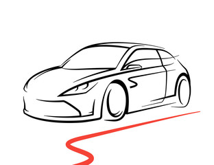 Original concept car drawing with black supercar sports vehicle line style silhouette on white background. Vector illustration.