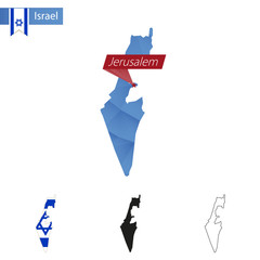 Israel blue Low Poly map with capital Jerusalem.