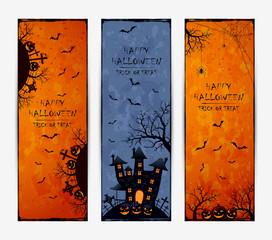 Set of three grunge Halloween banners