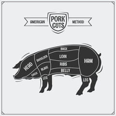 Cuts of pork. American method. Vector monochrome illustration. Vintage style.