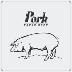 Vector vintage illustration of pig. Fresh pork meat label and emblem.