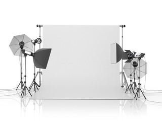 Photo studio equipment on a white bacground.3D illustration
