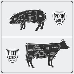 Cuts of pork and beef. American method. Vector monochrome illustration. Vintage style.