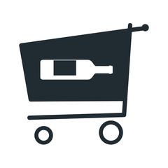 Icono plano botella de vino en carro compra sobre fondo blanco