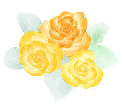 Orange and yellow rose watercolor .Grunge style. Isolated on white. Vector illustration.