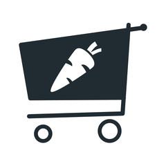 Icono plano zanahoria en carro compra sobre fondo blanco