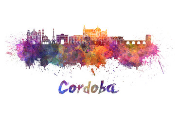 Fotomurales - Cordoba skyline in watercolor