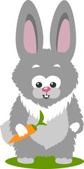 Bunny And A Carrot, Isolated Over White Background.