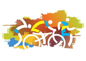 Autumn Triathlon race. Triathlon athletes on the autumn grunge background. Vector available.