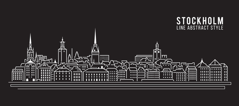 Cityscape Building Line art Vector Illustration design - Stockholm city