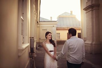 charming woman meet her beloved husband