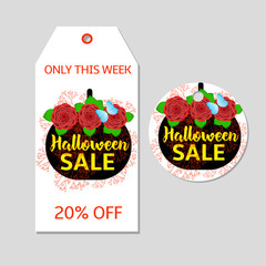 Halloween tag, label with the black pumpkin and red flowers