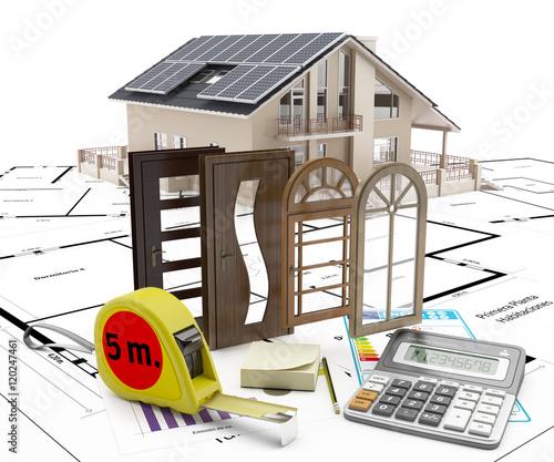 Puertas y ventanas para la casa con calculadora y cinta - Puertas para casa ...