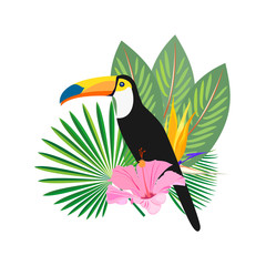Exotic tropical background with palm leaves, toucans, hibiscus flowers. Vector.