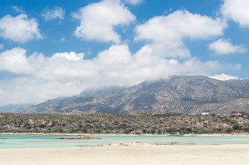 Wall Mural - Mountains near with a sandy beach Elafonisi