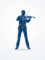 Violinist playing violin designed using blue grunge brush graphic vector.