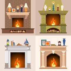 A set of four different fireplaces in flat style. Vector illustration.