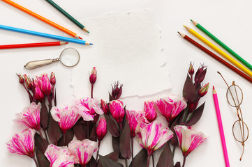 Top view of beautiful pink flowers and colorful pencils