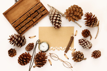Top view of pine cones, gift box and blank card