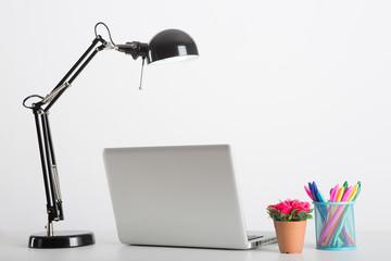 Business desk on white background