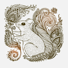 Hand-drawn Squirrel with ethnic ornaments floral doodle pattern. Vector illustration Henna Mandala Zentangle stylized. Design for spiritual relaxation for adults.